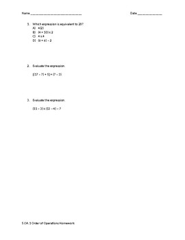Order of Operations Handout/Exit Ticket