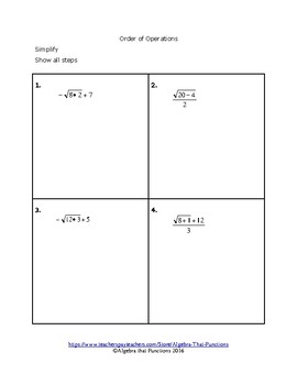 Order of Operations: Exponents, Roots, Absolute Value