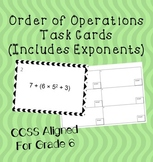 Order of Operations Exponents Task Cards PEMDAS 6th Grade Common Core review