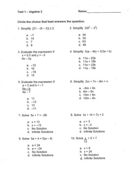 Order of Operations, Expressions, Equations, and Inequalities - TEST