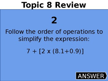 5th Gr. Order of Operations, Expressions, Function Rules and Volume Review Game