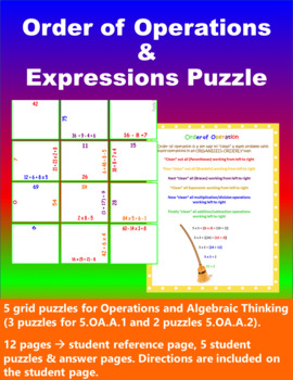 Order of Operations & Writing Equations/Expressions Puzzle