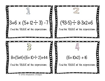 Order of Operations & Expressions Task Cards