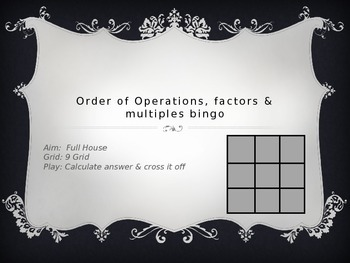Order of Operations, Factors and Multiples BINGO