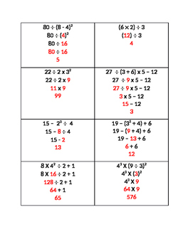 Order of Operations Fill in the Blanks Worksheet