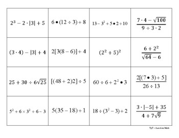 Order of Operations Flashcards