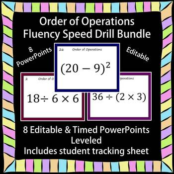 Editable Order of Operations Fluency 8 PowerPoints