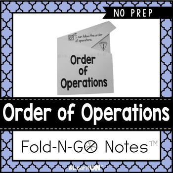 Order of Operations Fold-N-Go Notes™