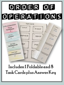 Order of Operations: Graphic Organizer-Foldable with Task Cards