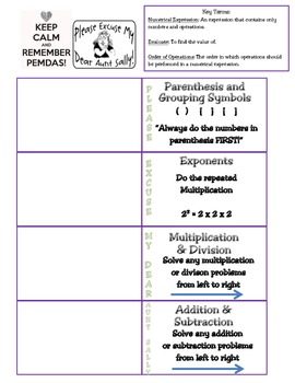 Order of Operations Foldable