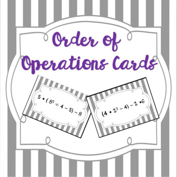 Order of Operations Foldable and Practice Cards Activity