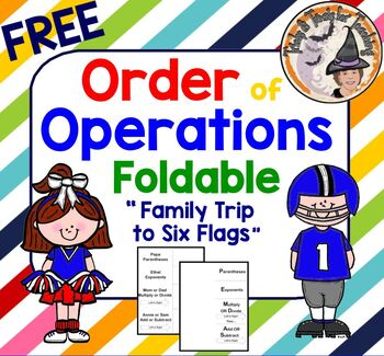 """FREE Order of Operations Foldable using """"Family Trip to Six Flags"""" Story"""
