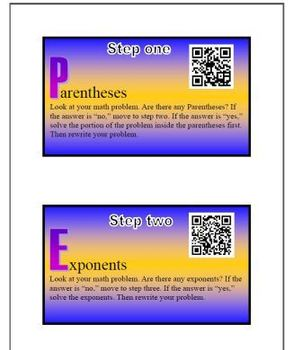 Order of Operations Foldable with QR Code Video Tutorials
