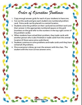 Order of Operations Footloose