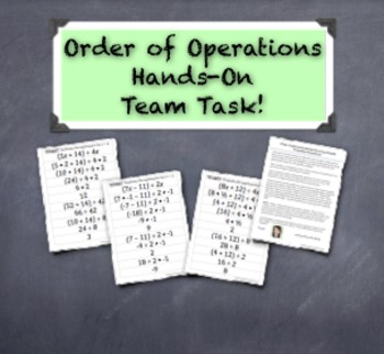 Order of Operations Formative Assessment - A Hands-On Group Activity!