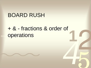 Order of Operations & Fraction Operations Board Rush