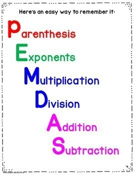 Order of Operations Posters Reading and Math Freebie