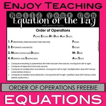 Order of Operations Freebie
