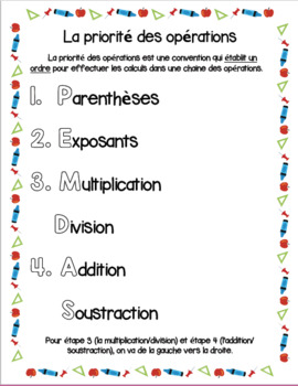 Order of Operations - French