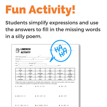 Order of Operations Fun Activity