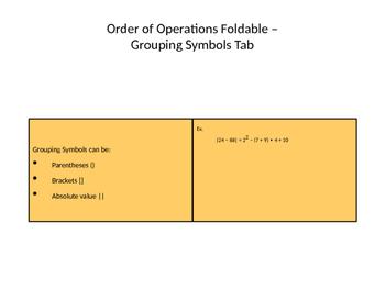 Order of Operations (GEMDAS) Foldable