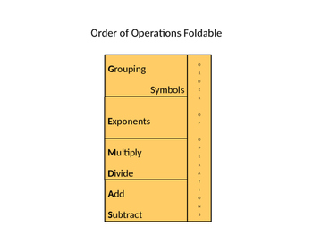 Order of Operations (GEMDAS) Foldable