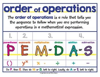 Order of Operations - GEMDAS - Poster