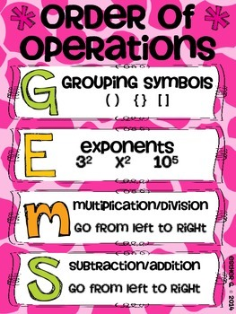 Order of Operations GEMS Poster FREEBIE