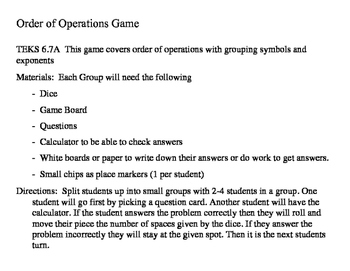 Order of Operations Game-TEKS 6.7A