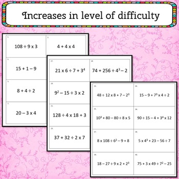 Order of Operations Flash Cards or Task Cards