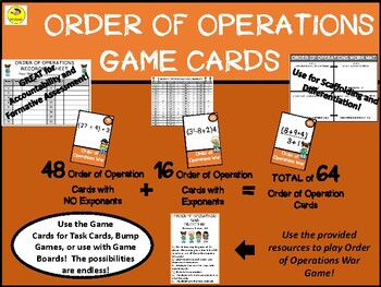 Order of Operations Game Cards with Bonus War Game