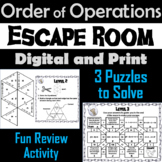 Order of Operations Activity: Escape Room Math (PEMDAS Practice)