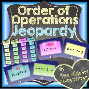 Order of Operations Game {Jeopardy} {Order of Operations Activity} {PEMDAS game}