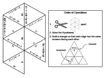 Order of Operations Game: Math Tarsia Puzzle