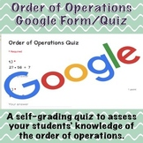 Order of Operations Google Form/Quiz (Distance Learning)