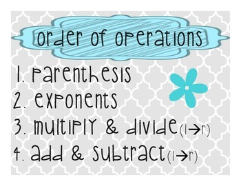 Order of Operations-Gray/Turquoise