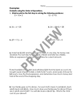 Order of Operations Guided Notes