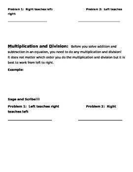 Order of Operations Guided Notes (For Use With PP Presentation)