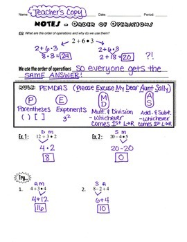 Order of Operations Guided Notes & Practice Worksheet!