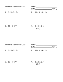 Order of Operations Half-page Quiz