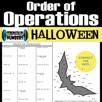 Order of Operations Halloween Connect the Dots Activity Interactive Notebook