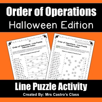 Order of Operations Halloween Puzzle Activity