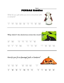 Order of Operations Halloween Riddles