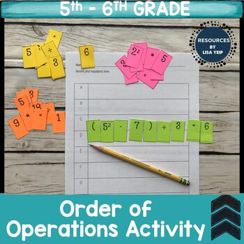 Order of Operations Hand-on Activity
