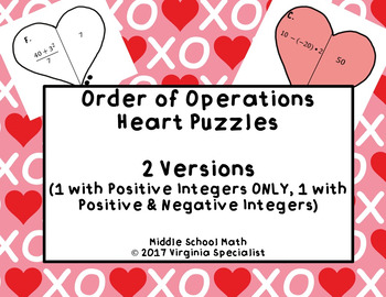 Order of Operations Heart Puzzles--2 Versions