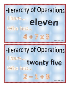 Order of Operations - Hierarchy of Operations - Numbers and Operations
