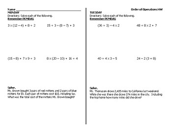Order of Operations Homework