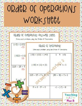 Order of Operations Homework Worksheet