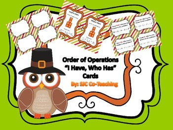 """Order of Operations """"I Have, Who Has"""" Card Game"""