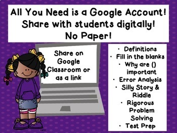 Order of Operations INCLUDING EXPONENTS Google Classroom Activity